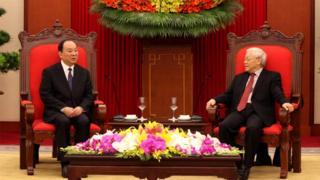 TBT Nguyễn Phú Trọng gặp ông Hoàng Khôn Minh, Bí thư Ban Bí thư, Trưởng ban Tuyên truyền Trung ương Đảng Cộng sản Trung Quốc chiều 5/7.