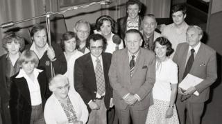 William Smethurst (centre in glasses) with The Archers cast