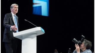 Philip Hammond speaking at the Conservative conference