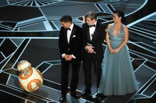Star Wars robot BB-8 with actors Oscar Isaac, Mark Hamill and Kelly Marie Tran