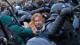 Riot police clash with supporters of Alexey Navalny, Russian opposition leader