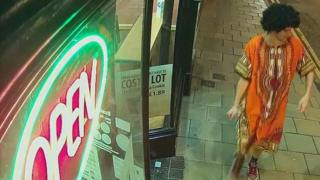 CCTV of a man in fancy dress issued by Dyfed-Powys Police after the attack was shown to the jury