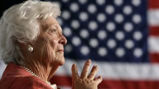 Barbara Bush listens to her son, George W Bush, as he speaks at an event on social security reform in Orlando, Florida March 18, 2005
