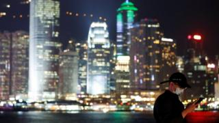 Man wearing a face mask in Hong Kong