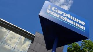 A Carphone Warehouse sign