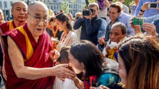Tibetan spiritual leader the Dalai Lama meets fans in Rotterdam, the Netherlands, 14 September 2018
