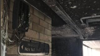 Fire damage at Haviland House