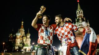 Croatian supporters celebrating their victory in Red Square, Moscow