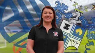 Grace McGibbon, Clydebank FC chairman, with Bolton and Bury badges