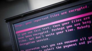 一部感染了勒索病毒的筆記本電腦