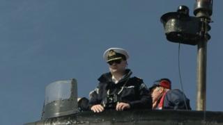Steve Aiken on board a Royal Navy submarine
