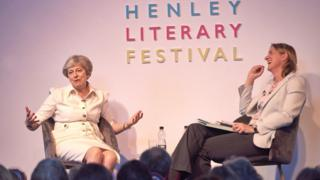 Theresa May speaking at the Henley Literary Festival