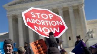 Anti-abortion activists rally outside of the Supreme Court in Washington DC, on 2 March 2016