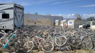 The bicycles Rockwell salvaged from Burning Man