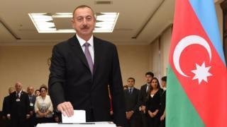 Azerbaijani President Ilham Aliyev casts ballot
