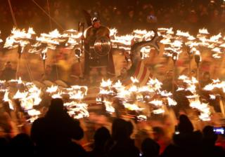Members of the Jarl Squad in Lerwick on the Shetland Isles during the Up Helly Aa Viking festival. Originating in the 1880s, the festival celebrates Shetland's Norse heritage, 28 January 2020.