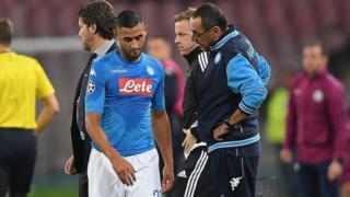 Faouzi Ghoulam s'est blessé après une demi-heure de jeu mercredi face à Manchester City.