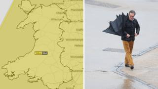 Weather graphic showing yellow warning affecting whole country