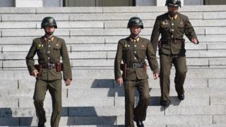 North Korean soldiers at the border