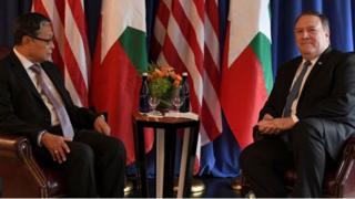 မြန်မာဝန်ကြီး ကျော်တင့်ဆွေ နဲ့ အမေရိကန် နိုင်ငံခြားရေး ဝန်ကြီး တွေ့ဆုံ