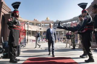 London Mayor Sadiq Khan crosses at the Wagah border crossing from India into Pakistan