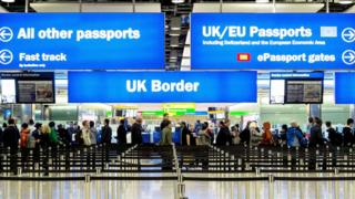 Immigration and passport control at Heathrow airport