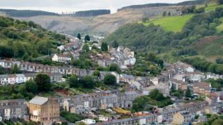 view across a Rhondda valley