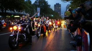 "Motorcyclists from ""Dykes on Bikes"" lead the annual Sydney Gay and Lesbian Mardi Gras parade in Sydney, Australia March 4, 2017."