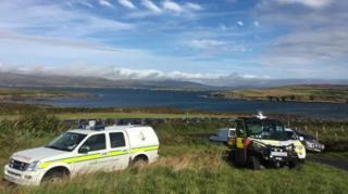 Irish Coast Guard vehicles at Dunmanus Bay