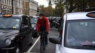 Cyclist in central London