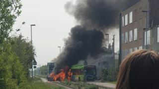 Fire on guided busway