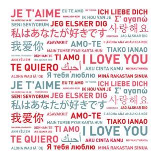 جملۀ آسمانی معروف «تو را دوست میدارم» به مجموعهای از زبانهای دنیا. این طور که پیداست، اینها فقط زبانهایی است که خطّ آنها لاتینی است. بقیه زبانها در خطّ هم با هم بیگانهاند