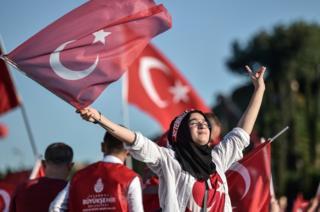 Erdogan supporter marking defeat of 2016 coup, 15 Jul 18