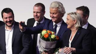 File pic from 2017 of right-wing parties meeting in Koblenz. From L to R) Matteo Salvini, leader of the Italian Lega Nord, Harald Vilimsky, General Secretary of the Austria Freedom Party, Geert Wilders, leader of the Dutch PVV party, Marine Le Pen, leader of the French Front National