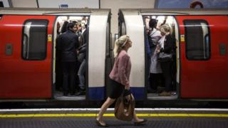 Commuters on Northern Line train