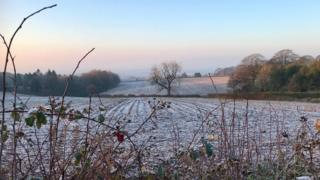 Frost-kissed fields at Beacon Hill, Lickey