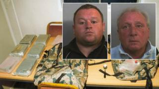 Martyn Pagett (inset left) and Neil Strange (inset right) with the drugs haul