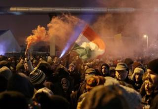 budapeşte'de protestocular