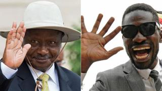 L: Yoweri Museveni R: Bobi Wine
