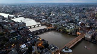 Five of the bridges across the Thames in London