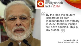 """Indian Prime Minister, Narendra Mod on left, quote: """"By 2022, farmers' income will have doubled..."""""""
