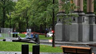 Montreal's downtown statue of Sir John A Macdonald was also decapitated in 1992
