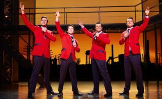 Declan Egan, Matt Corner, Simon Bailey and Matt Hunt in the London production of Jersey Boys