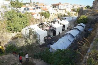 Damaged tents in Souda camp, UNHCR photo