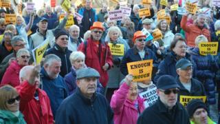 Protestors in St Helier
