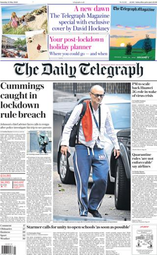 The Daily Telegraph front page 23 May