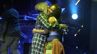 Tionne T-Boz Watkins and Rozonda Chilli Thomas share a hug during rehearsals for their first-ever London show