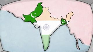 Mapa de India, Pakistán y Bangladesh.