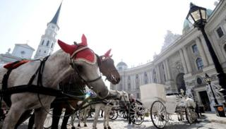 Coachmen with their horses wait for tourists near Hofburg Palace in Vienna