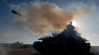 Members of the Libyan National Army (LNA) commanded by Khalifa Haftar, prepare to head out of Benghazi to reinforce the troops advancing to Tripoli